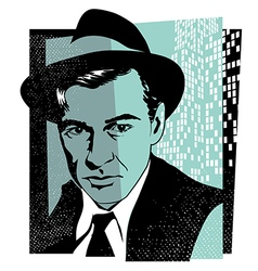 Retro character portrait of actor Gary Cooper vector