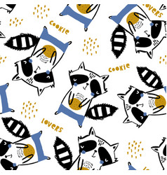 seamless childish pattern with cute raccoons with vector image