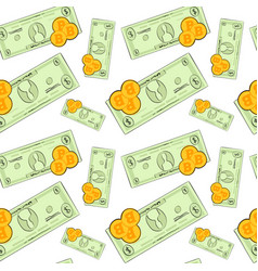 seamless pattern bitcoins money on white vector image
