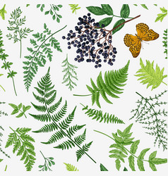 seamless pattern with leaves berry vector image