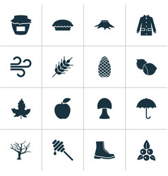 Seasonal icons set with timber filbert apple and vector