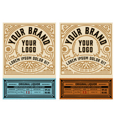 set 2 vintage labels layered vector image