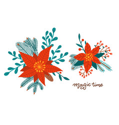 Set christmas bouquets arranged red vector