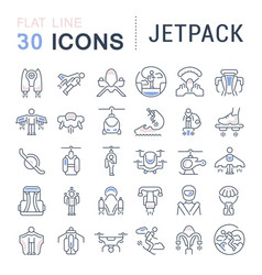 Set line icons jetpack vector