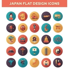 Set of flat design Japan travel icons and vector image