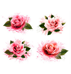 set of greeting cards with pink roses vector image