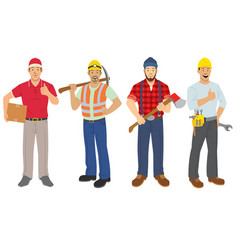 set of labor workers in flat style vector image