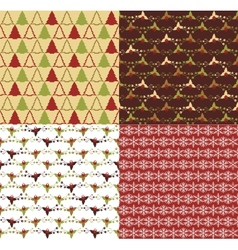 set seamless patterns for christmas vector image