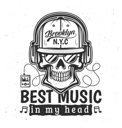 skull with sunglasses headphones t-shirt print vector image