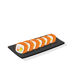 sliced salmon sushi roll on black plate isolated vector image