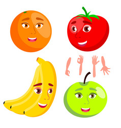 smiling orange tomato apple banana healthy vector image