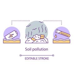 Soil pollution concept icon land degradation vector