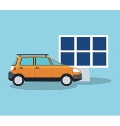 Solar panel and car design vector
