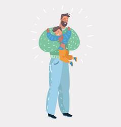 Son hugging his dad vector