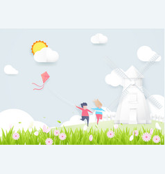 spring season concept boy and girl playing kite vector image