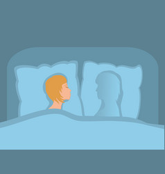 the women is alone in bed separation from darling vector image
