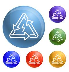 triangular energy arrow icons set vector image