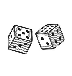 two white dice gambling game sketch vintage vector image