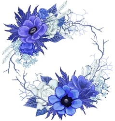 Vintage floral wreath in blue colors vector