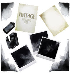 Vintage set of watercolor old photographic paper vector