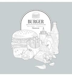 Vintage sketch with fast food vector