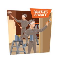 wall painting and wood varnishing service vector image