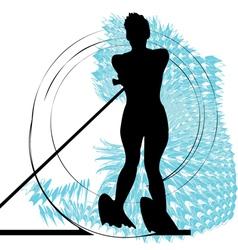 Water skiing woman vector image
