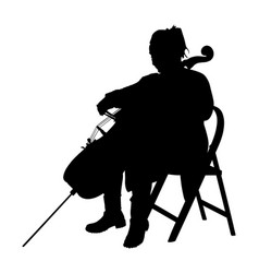 woman cellist siting and playing cello silhouette vector image