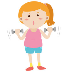 Woman exercising with dumpbells vector