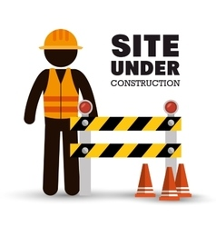 worker warning site under construction vector image