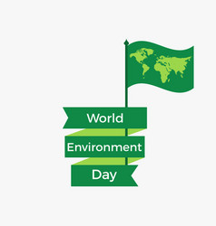 World environment day 5th june flag with a world vector