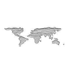 World map grid in bevel emboss style topography vector