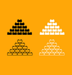 building block black and white set icon vector image