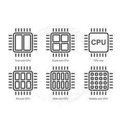 computer processor icon set vector image
