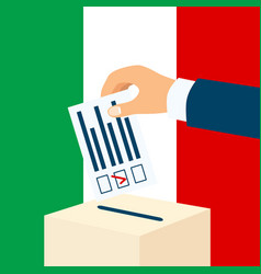 Election in italy male hand putting voting paper vector