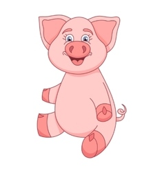 Funny piggy sitting and smiling vector image