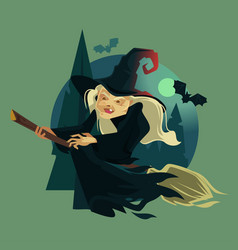 Happy smiling evil old witch mascot character vector