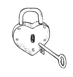 Heart Lock Hand Drawn vector image vector image