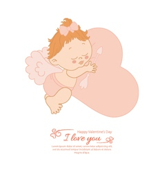 Postcard Valentines Day with angel vector image vector image