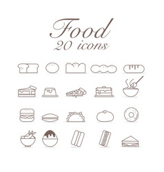 20 icons for food set infographic design vector image