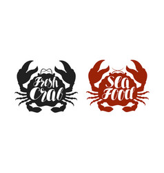 crab logo or label food seafood icon lettering vector image