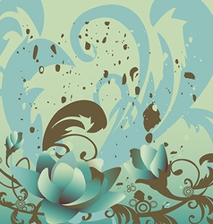 grunge background with roses leaves horizontal vector image