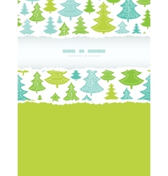 Holiday Christmas trees vertical torn frame vector image vector image