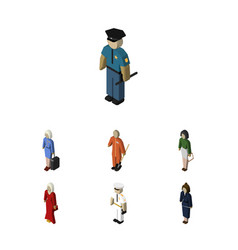 Isometric people set of seaman hostess cleaner vector
