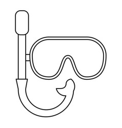 Mask snorkel vacation recreation thin line vector