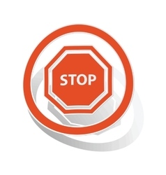 STOP sign sticker orange vector image