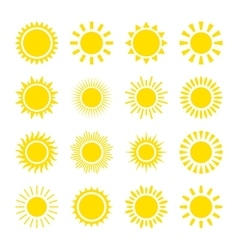 Yellow sun icons vector image
