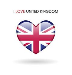 love united kingdom symbol flag heart glossy icon vector image