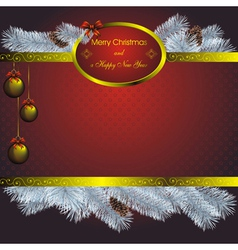 new year card with blue fir and golden christmas l vector image vector image