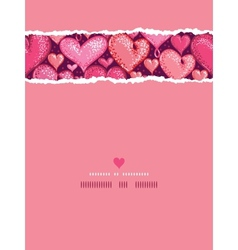 Red Valentines Day Hearts Vertical Torn Seamless vector image